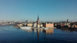 stockholm overview bird drone shot