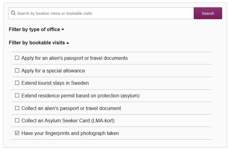 migration office sweden bookable visits